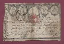 Portugal Imperial Treasury 5000 Reis 1797 P-23 EXTREMELY RARE BANKNOTE