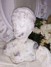Buste Femme Statue Sculpture Shabby-Style Pierre Grise Crème