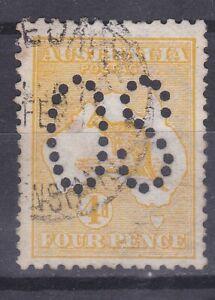 K223) Australia 1913 4d Orange Yellow Kangaroo perf. large OS. Neat cds of Queen