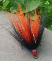 2 pack 3/0 Mustad Dressed Musky Pike Bucktail Teaser Treble Hooks - Bk/Or