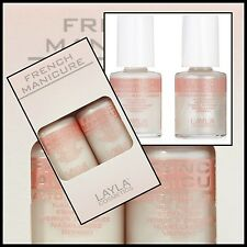 LAYLA french manicure KIT BIANCO E BIANCO PERLATO 10ML+10ML LUNETTE ADESIVE NEW