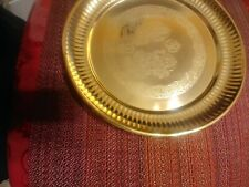 8 1/2 Inch Gold Plated Steel Puja Thali Plate