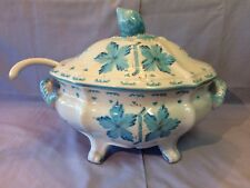 CANTAGALLI Rooster Mark ITALY Footed TUREEN w/Ladle Blue Floral on White Design