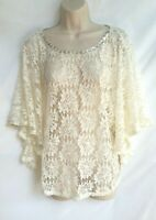Ruby Rd Womens Size Large Crochet Top Sheer Bat Wing Sleeves White Cream