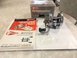 VINTAGE ABU AMBASSADEUR 5500C, BOX,PAPERS,WRENCH,WORKS GREAT,USED,SWEDEN,781003.