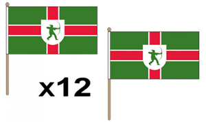 """Pack Of 12 Nottinghamshire Hand Flags 9 x 6"""" - British County - Conferences"""