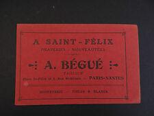 Carte de visite Visit card CDV NANTES A LA CHATELAINE SAINT-FELIX Bégué Tailleur