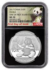2017 China 10Y 30g Silver Panda NGC MS70 FDI First 30k Struck Lbl Blk SKU45028