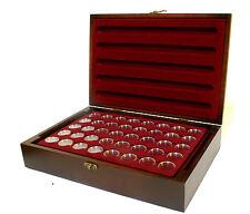 Holz-Münzkassette inkl 5 Münztableaus für 200 Stk 2 Euro Münzen in Kapseln NEU!