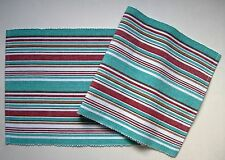 HAMPTON COVE Coastal Stripe Cotton Table Runner Turquoise, White, Brown, Red