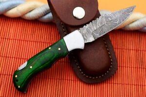 MH KNIVES RARE CUSTOM DAMASCUS STEEL FOLDING/POCKET KNIFE BACK LINER LOCK F-04T