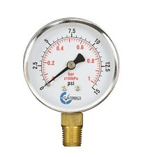 "2-1/2"" Pressure Gauge - Chrome Plated Steel Case, 1/4""NPT, Lower Mnt. 15 PSI"