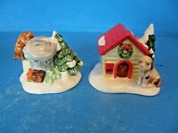 "THE ORIGINAL SNOW VILLAGE ""CAT AND DOG"" SET OF 2 CERAMIC ACCESSORIES-VINTAGE"