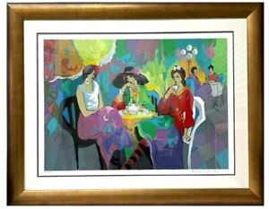 """Isaac Maimon """"Pink Garden Cafe"""". Large Signed and Numbered Serigraph. 28"""" x 38""""."""