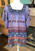 Art & Soul Womens Top Blue Print Hippie Boho Embroidered Tunic Shirt Size S