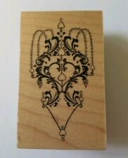 Great Impressions Wooden Mounted Rubber Stamp E665 Chandelier Hearts Background