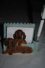 Dachshund Magnetic Note pad New In Box Two Dachshunds sitting by the Fence