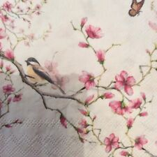 paper napkins decoupage x 2 birds and blossom 25cm