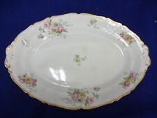 "18"" SERVING PLATTER ANTIQUE AHRENFELDT LIMOGES CHINA HAND PAINTED GOLD ENCRUSTED"