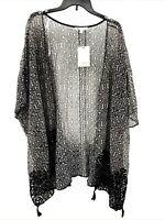 DR2 by Daniel Rainn Womens 3X Black Floral Velvet Burnout Open Kimono Cardigan