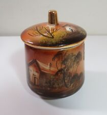 Penco Hand Painted Portugal Porcelain Candy Cracker Jar - Farm House Scene