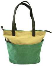 Two Tone Tuk Tote Bag Canvas Carryall  - Moss Green with Sand Beige Panel