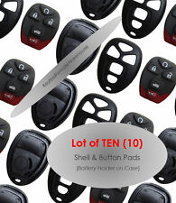 Remote Keyless Lot 10 NEW Replacement Case Button Pad 15857839 Clicker Start Key