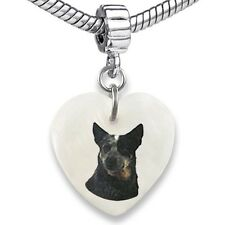 Australian Cattle Dog Heart Mother Of Pearl European Bracelet Charm Bead Ebs228