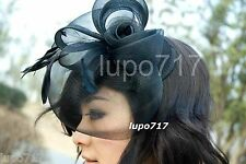 PURPLE HAT NETTING FEATHERS FASCINATOR WEDDING ASCOT RACE HEN PARTY LADIES DAY