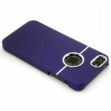 New Deluxe Purple Hard Case With Chrome Ring For Apple iPhone 5 / 5S / SE