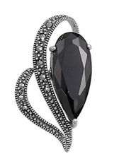 Black Heart Pendant with Marcasite Sterling Silver 925 Vintage Jewelry Gift