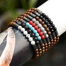 Men's Women Bracelets Natural Wood Beads Hematite Charm Elastic Strand Bracelets