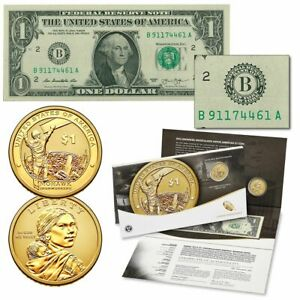 2015 Mohawk Ironworkers Native American $1 Enhanced Coin and $1 Currency Set