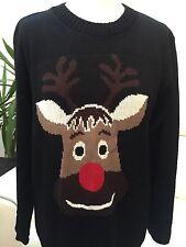 Para Dama Color Negro Reno De Navidad Jersey Suéter Talla S/M