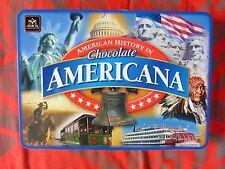 "Boîte vide en métal et en relief  ""American History in Chocolate AMERICANA"""