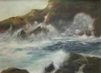 Original Oil  Painting Seascape, Sea Shore, signed with monogram AGB
