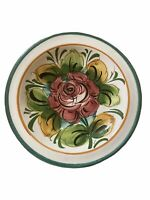 """Hand Painted Plate Wall Hanging 6"""" Italy Pink Flower piatto dipinto mano italia"""