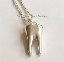 Silver Plated 3D Tooth Necklace Teeth Dentist Dental Hygienist Assistant Gift
