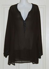Womens size XS (14-16) brown beaded top made by MY SIZE