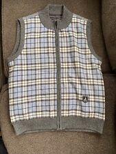 Beanpole Golf Women's Wool Vest Size 95cm (M/L) Full Zip Plaid Blue/Gray Classic