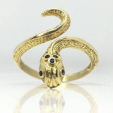 14ct Vintage Stunning Snake/Serpent Gold Ring With Sapphires on head