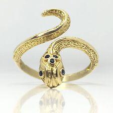 14ct Vintage Serpiente impresionante/Serpiente Anillo De Oro Con Zafiros en la cabeza