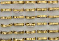 60stk.Neu Großhandel Lots Edelstahl Ring Unisex Vergoldet Ringe 4MM Breite