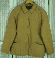 BARBOUR Women's Shaped Microfibre Quilt Short Jacket L UK16 Light Brown Tan Coat