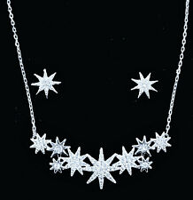 Authentic Swarovski Star Necklace & Earring SET Rhodium Plated 5528944 NEW
