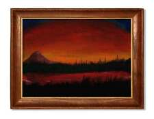 Sunset over lake and trees - acrylic painting unique gift (Print) ID :1571