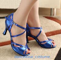 Ballroom Latin Tango Salsa Dance Shoes Ladies Rumba Samba Heels Sandals EU34-42