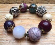 Vintage Style Eclectic Bead Bracelet/Faux Pearl/Ceramic/Retro/Stretchy/Boho