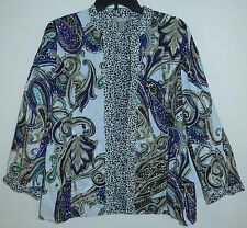 Chico's REVERSIBLE Jacket 1 S Cover Up Cardigan Top Animal Paisley PRINT Perfect