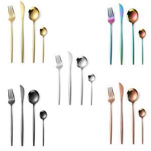 4Pcs Cutlery Sets Steel Forks Spoons Tableware Rose Silver Gold Black V7A9